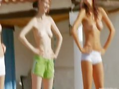Six обнаженных девушек у бассейна из Италии