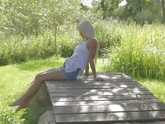 blond beauty from Sweden touching clit