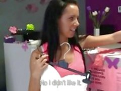 Petite brunette salesgirl fucked in shop