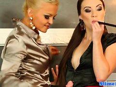 Jenna Lovely and Tiffany Doll in bukkake party