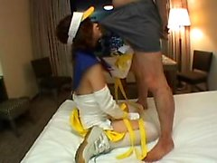 Enticing Japanese teen sucks a thick pole before getting fu