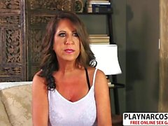 Gorgeous Girlfriend Mom Karen De Ville Gives Handjob Well Touching Stepson