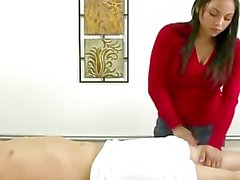 Real asian masseuse rubs customers dick