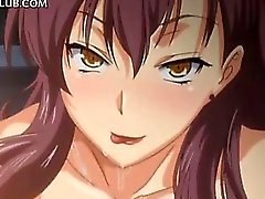 Innocent anime girl fucks big cock between tits and cunt