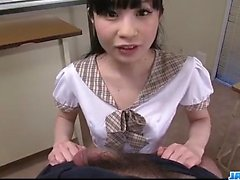 Mizutama Remon kneels and blows cock until exhaustion
