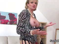 Unfaithful english milf lady sonia shows off her large knock