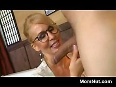 Blonde MILF In Glasses Wants Young Cock