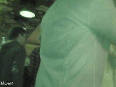 Pantyhose bottomless flash at bar. Jeny Smith