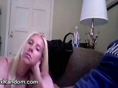 Blonde Wife Gives A Handjob