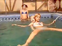 Three slovak teenies in the pool