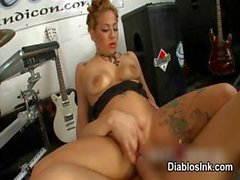 Dirty tattooed babe riding an hard cock