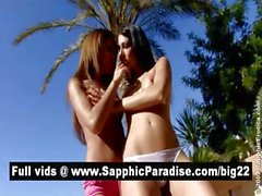 Gorgeous brunette and redhead lesbians kissing and getting naked and having lesbian sex