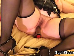 Horny BBW Masturbates With A Brown Dildo