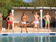 Six naked cheerleaders by the pool from Russia