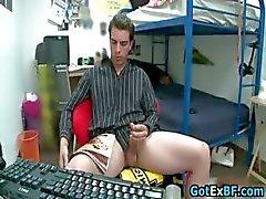 Hot ex boyfriend caught jerking his nice part1