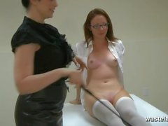 Stripped college slut gets teased by Mistress