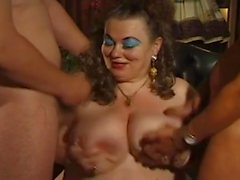 fat german bbw granny molly plays with two men