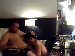 Stunning girl rides the cock of fat man