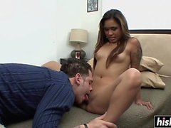 Hot Asian honey gets fingered and drilled