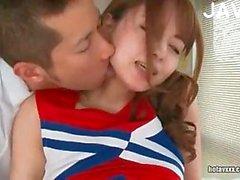 Japanese cheerleader cock sucking