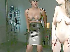 Natural busty sub in interracial femdom