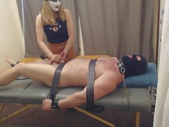 ballbusting handjob and cbt, tickling