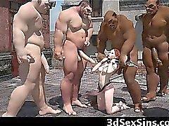 Adolescente de en 3D gangbanged mediante Evil los ogros !