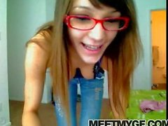 Hot teen in glasses strips on cam