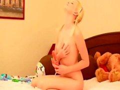 Sensual Blonde Tease with Teddy Bear & a mp_ Dildo