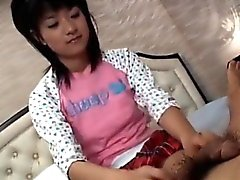 Saotome sucks dick and has hairy twat fucked under skirt