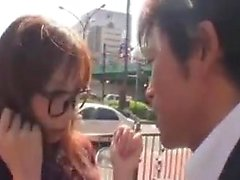 Nerdy Japanese chick with a heavenly ass gets pleased with