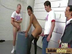 Interracial ebony babe group bukkake 30