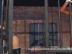 Jailed ebony girl punished by mistress Natasha after being caught masturbat