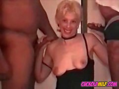Cuckold sissys MILF wife fucking 2 BBC bulls in hotel room