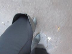 Oot over exited strutting in thigh boots outdoors