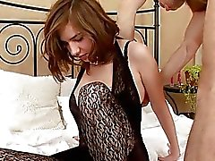 Cute chick bounds on hard cock