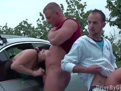 Cum through car window on girl's face in public sex gangbang