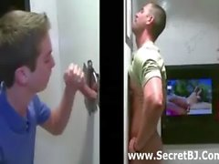 Gay gloryhole handjob and blowjob for straight dude