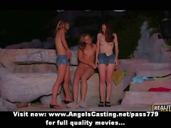 Lesbian threesome sex orgy licking and toying pussy outdoors