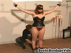 Tied and blindfolded sex slave gets pussy spanked and toyed