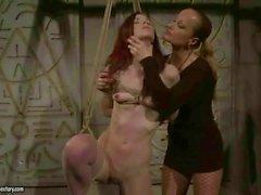 Mistress dominating sexy redhead