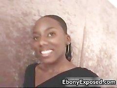 Ebony charmer sucking a white rod part5
