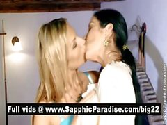 Superb blonde and brunette lesbians kissing and licking nipples and having lesbian love