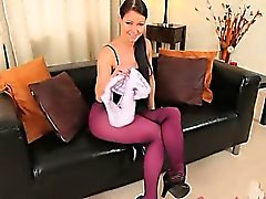 Purple nylon pantyhose on charming babe