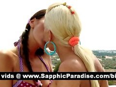 Superb brunette and blonde lesbos kissing and getting naked and having lesbo sex