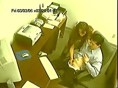 Office slut jerks off co worker on cam