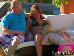 Hot party outdoors turns naughty orgy in reality show