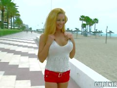 Latina bombshell Cathy Heaven in cute bikini