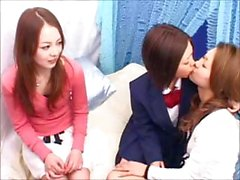 Naughty Asian schoolgirl trio kissing and fingering that hairy pussy