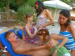 hot gangbang with four girls and me